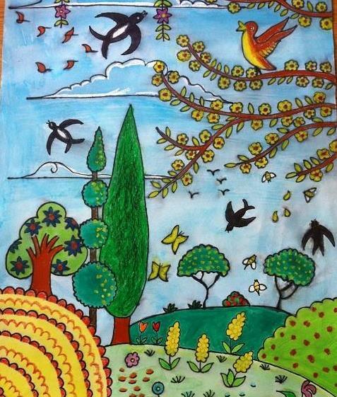 春天来了儿童绘画_变化多端的春天绘画