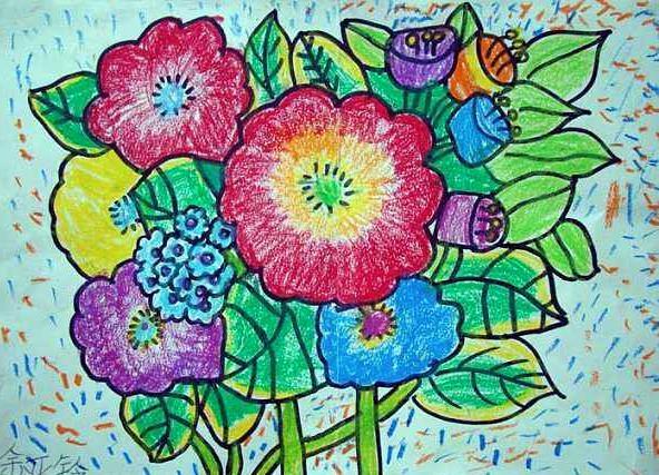 春暖花开的春天儿童画_春来了小学生绘画