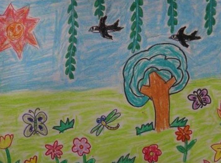 美妙的春天优秀儿童绘画