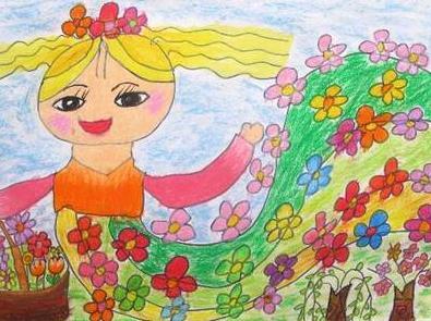 春天来了儿童绘画_美丽的春姑娘小学生画画