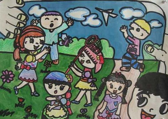 春天踏青外出游玩主题儿童绘画