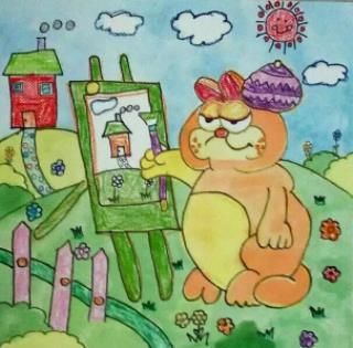 我眼中的春天创意绘画_春天里的诗词绘画