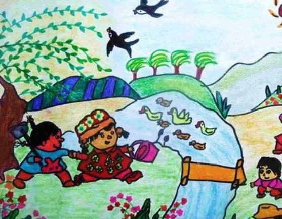 寻找春天小学生主题绘画作品