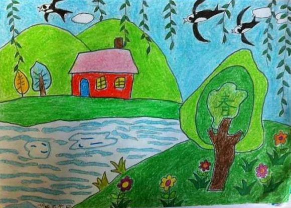 春天来了小燕子飞回来了儿童画
