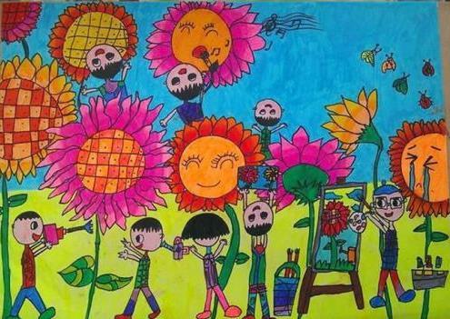 生机勃勃春天小学生优秀绘画