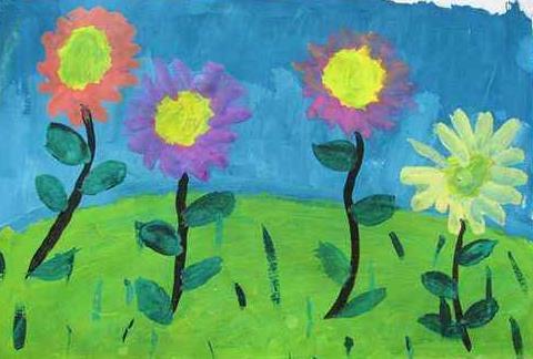 美丽的春天画卷小学生画作欣赏