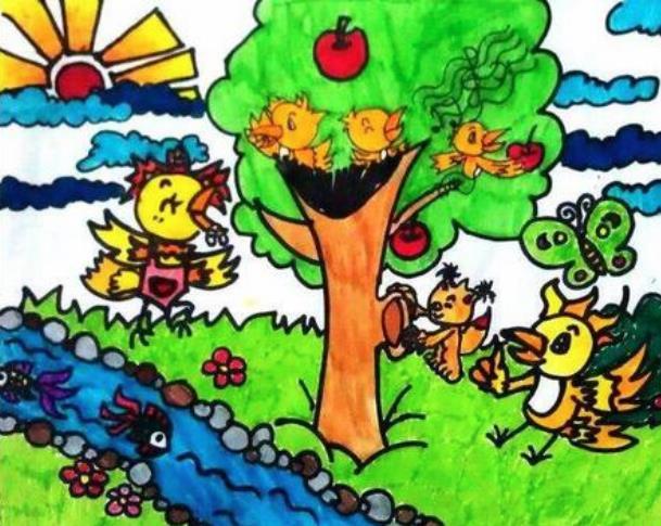 春天大地万物复苏小学生绘画