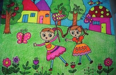 美好的春天小学生绘画作品