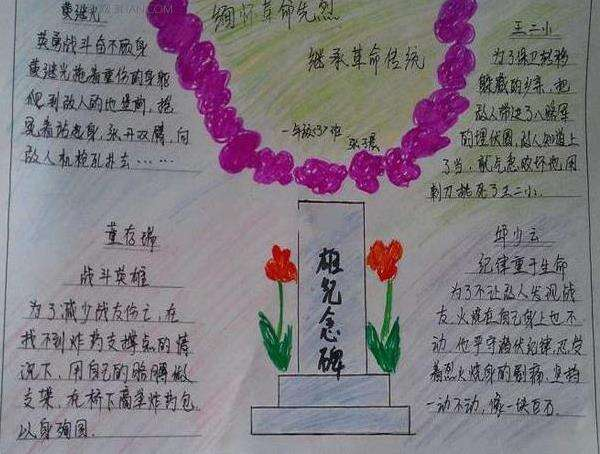 清明节革命先烈故事手抄报小学生图片