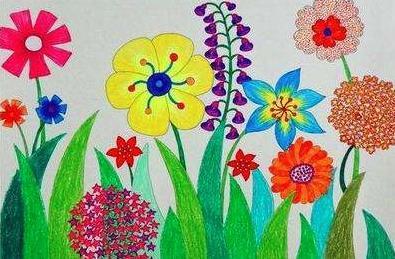 春天来了五颜六色的花朵盛开儿童画