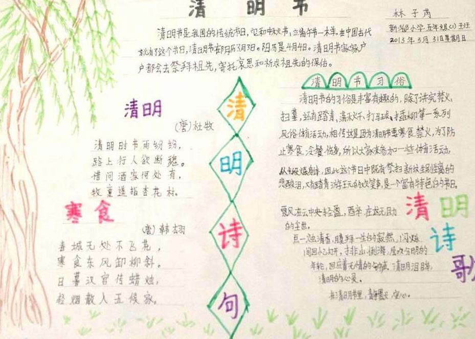 清明节诗歌手抄报简单优秀绘画