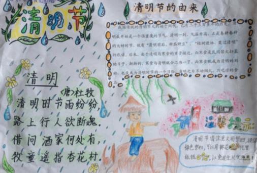以清明为主题的小学生画画手抄报