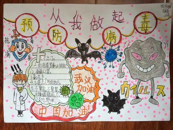 福兔_新冠病毒2020手抄报大全_简单漂亮的防控疫情手抄报图画 - 5068儿童网