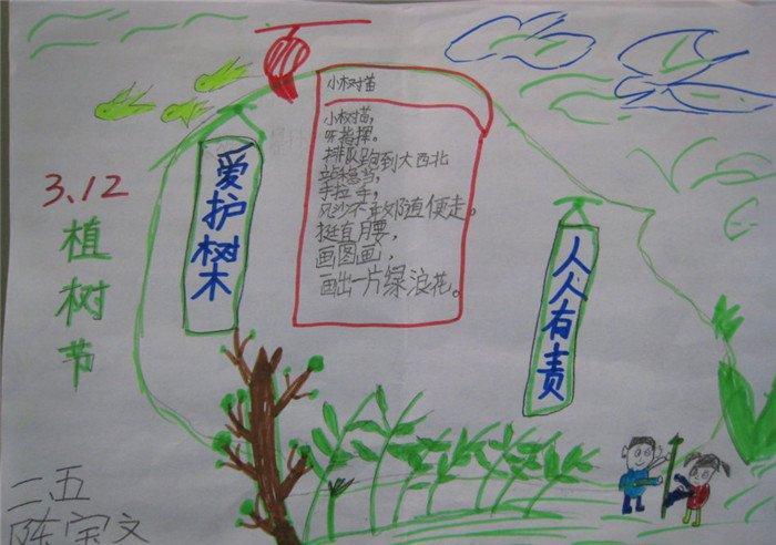 最好看的植树节手抄报_2020小学生植树节手抄报图片