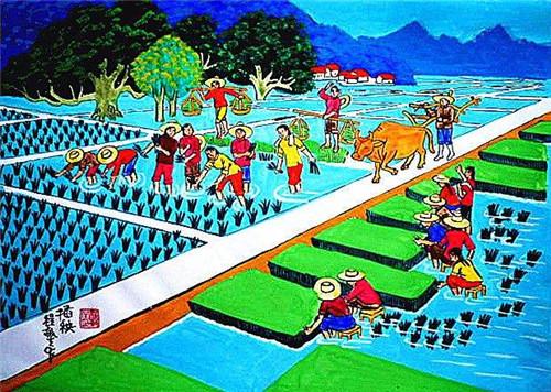 2020春天的田园风景画_春天的乡村风景画