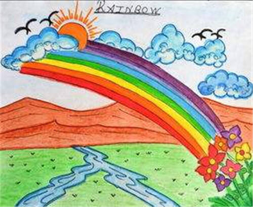 春天风景画卡通_春天里的风景画_美术春天风景画