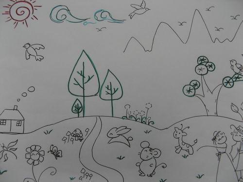 一幅简单的春天风景画_春天的花风景画铅笔画