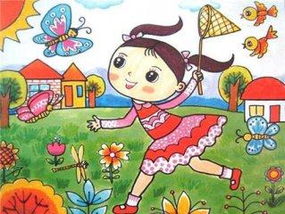 兒童春天風景畫