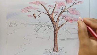 春天風景畫簡筆畫彩色_小學生風景畫春天