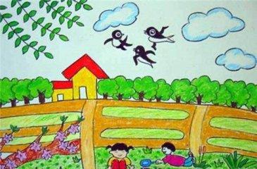 蜡笔春天风景画_春天风景画儿童画_小学生春天的风景画