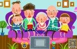 描写家庭生活场景作文500字-电视机前的一家人