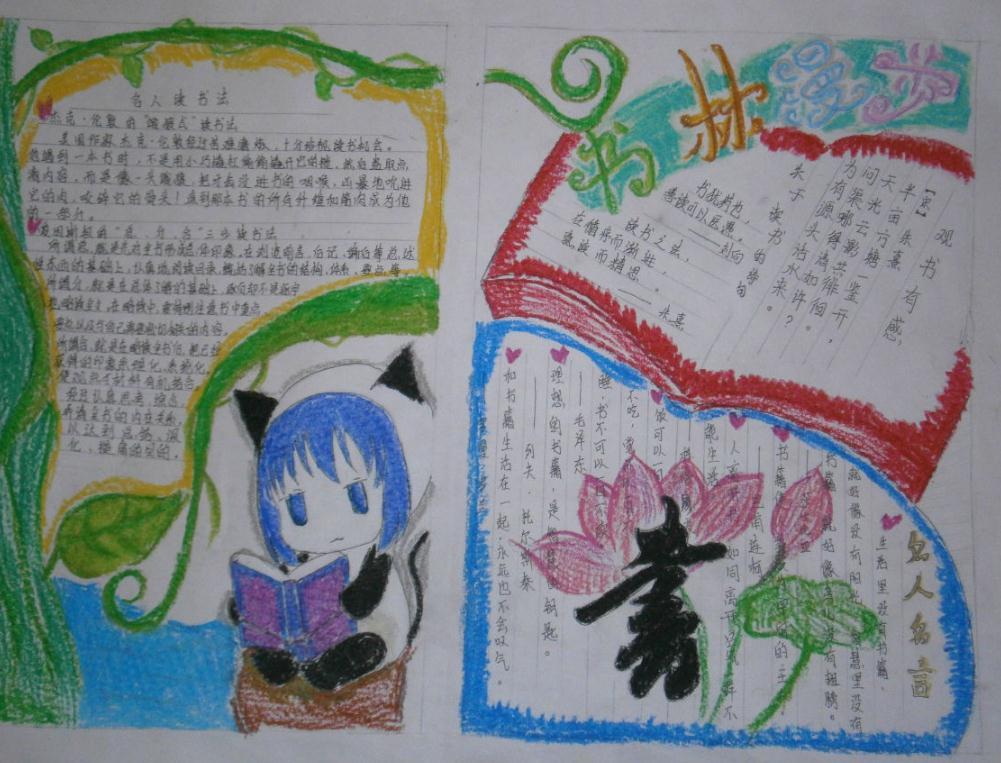 4.23世界讀書日主題繪畫手抄報_書林漫步手抄報