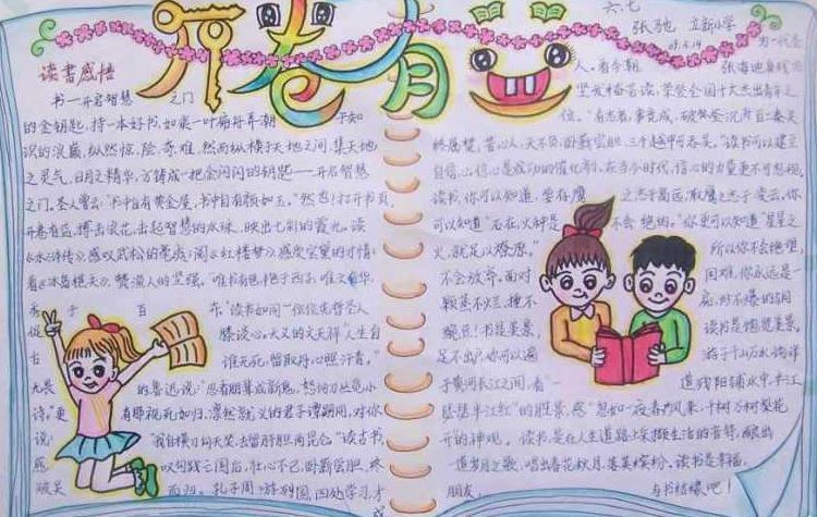 世界读书日手抄报小学绘画-开卷有益