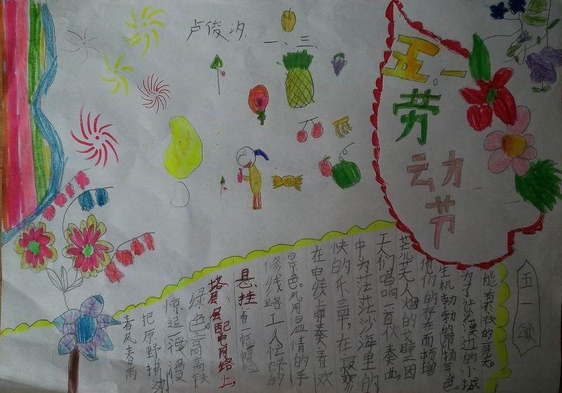 五一劳动节手抄报一年级绘画