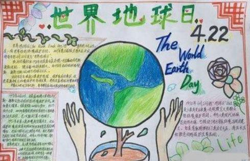 4.22世界地球日手抄报版面设计