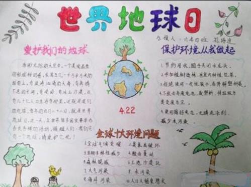 世界地球日保护环境手抄报简单