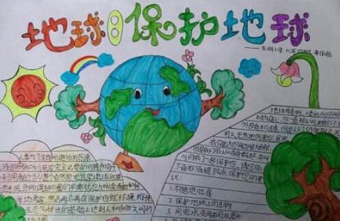 地球日保护地球手抄报简笔画