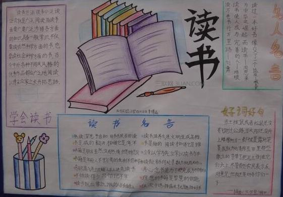 世界读书日手抄报简单绘画作品