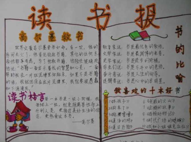 世界读书日手抄报简单易画素材