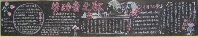 劳动者之歌黑板报模板_欢度五一黑板报设计