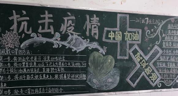 众志成城抗击疫情黑板报简单漂亮