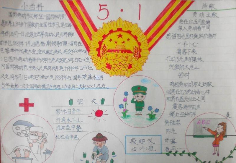 抗疫情过五一手抄报_劳动节手抄报简单可爱绘画