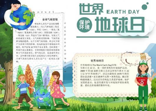 2020世界地球日保护环境手抄报设计