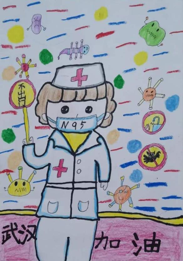 抗疫情致敬白衣逆行者绘画作品