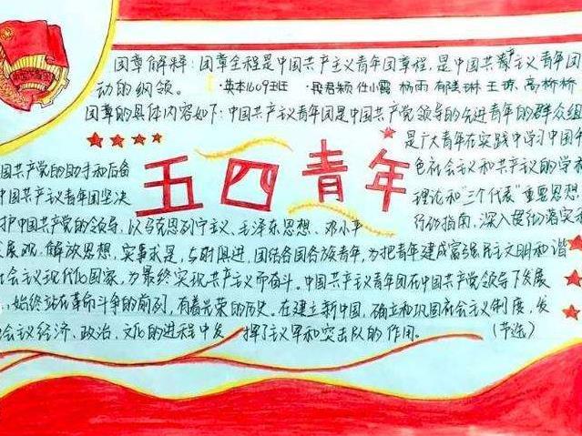 五四精神薪火相传手抄报优秀绘画