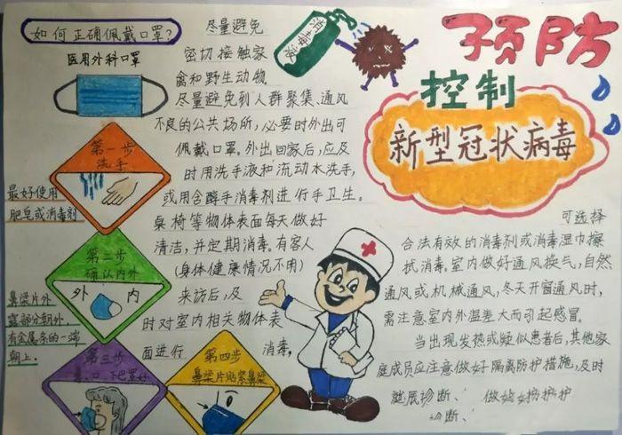 2020抗击疫情绘画作品小学生手抄报