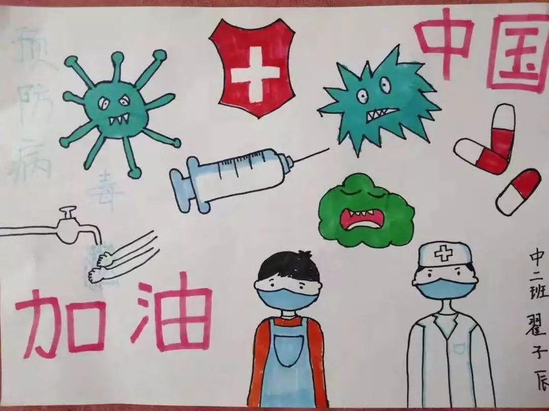 关于2020小学生抗疫情战胜疫情画_疫情手抄报简单又漂亮