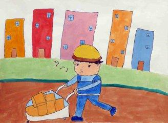 关于五一劳动节儿童画图片_劳动节绘画作品六年级