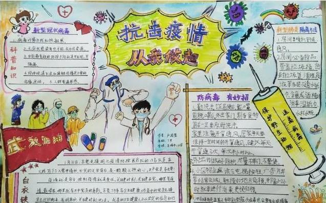 疫情下的母亲节手抄报中学生绘画图片