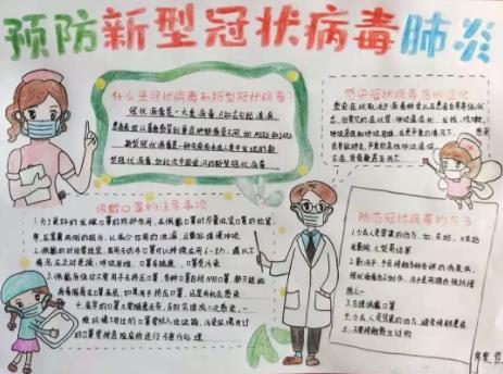 校园预防新型冠状病毒手抄报图片素材