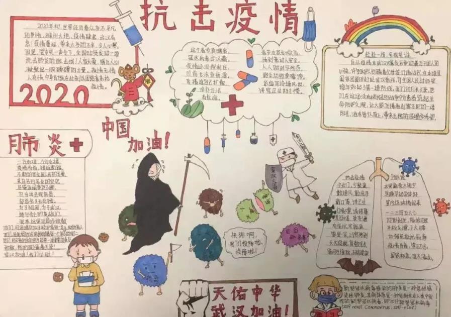 控制新型冠状病毒手抄报漂亮简单绘画