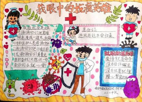 我眼中的抗疫英雄手抄报小学生绘画
