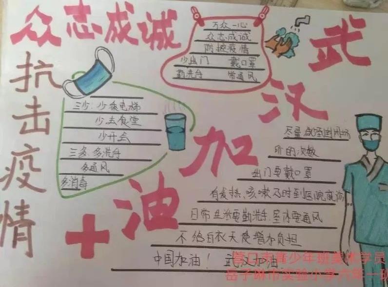 小学生抗疫情致敬感恩护士们手抄报