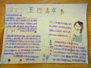 2020五四青年节让青春为祖国绽放手抄报画画