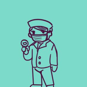 检测体温的工作人员简笔画要怎么画