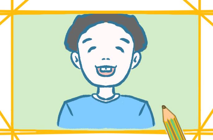 龅牙男孩简笔画小学生要怎么画